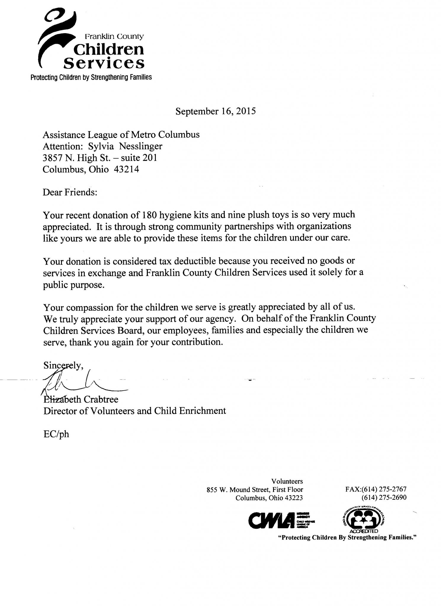 thank you letters assistance league metro columbus