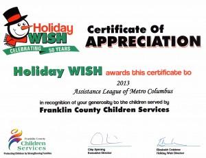 Franklin County thankyou cert