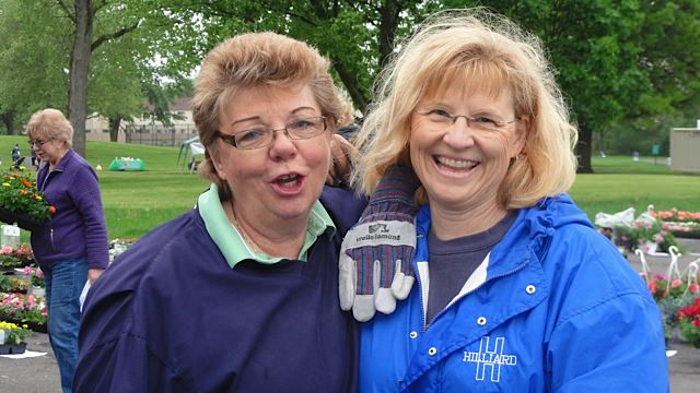 Hard at work or……..Our president Jan Page (L) and new member ( r) Barb Leman